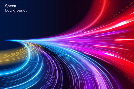 Abstract colorful speed background with lines in shape of track turn. Geometric and dynamic, trendy layout for racing club or sport competition, event poster. Futuristic and motion, race and linear