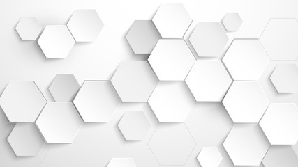 Abstract white hexagon background. Vector Illustration Fotoväggar