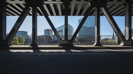 Bridge at sunset in Hamburg City