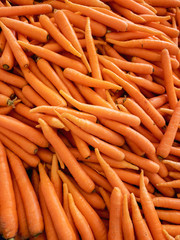 Top view of fresh carrots in the grocery store
