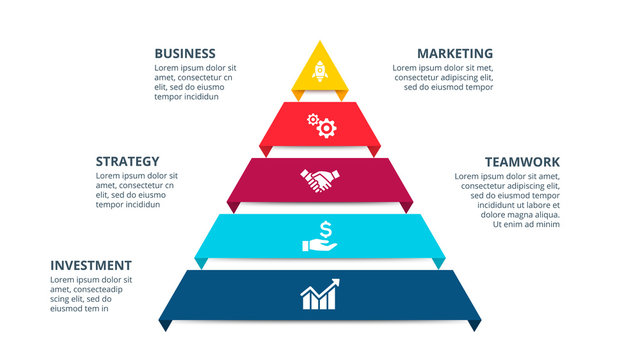 Vector pyramid infographic with 5 options. Business presentation template. Can be used for workflow layout, diagram, business step options, banner, web design.