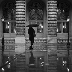 Umbrella girl at Hamburg town hall