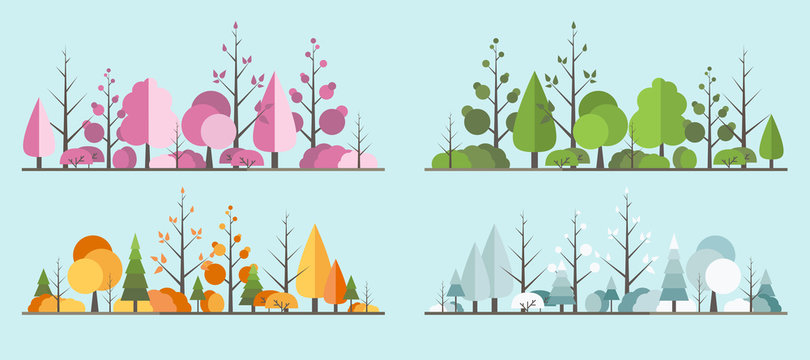 Natural all seasons landscape with a tree in the flat style. a beautiful park.Environmentally friendly natural landscape.