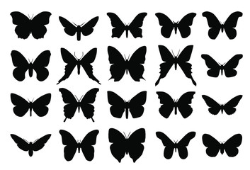 Collection vector butterfly silhouettes, black color isolated on white background. Butterfly flat icons. Set of different insects