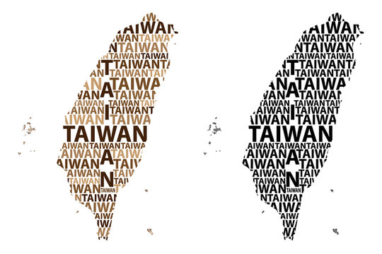 Sketch Taiwan letter text map, Republic of China (ROC) - in the shape of the continent, Map Taiwan - black and brown vector illustration