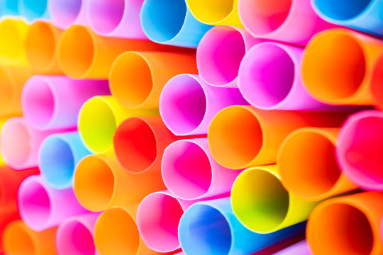 Close up colorful straw for drink