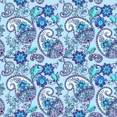 Indigo traditional paisley pattern