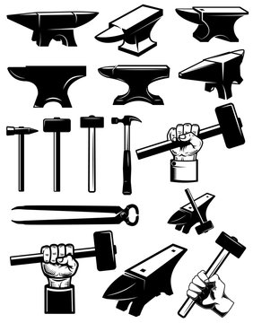 Set of blacksmith design elements. Anvil, hammers, blacksmith tools. For logo, label, sign, badge.