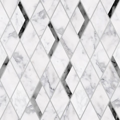 Seamless luxury rhombus marble stone texture pattern, Luxury black and white marble stone texture background
