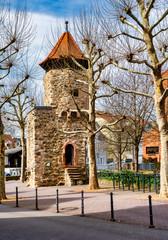 Rinnentorturm (Rinnentor Tower) in the city of Bensheim, Germany