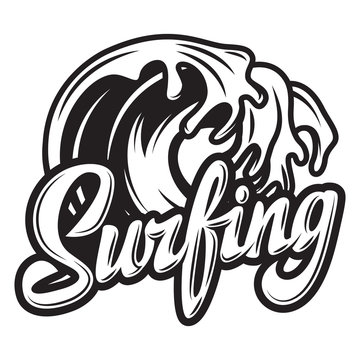 Vector monochrome calligraphic inscription surfing with wave