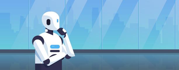 modern robot thinking humanoid holding hand chin pondering artificial intelligence digital technology concept cartoon character portrait horizontal