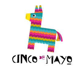 Mexican Fiesta banner and poster design with donkey pinata, flowers, decorations