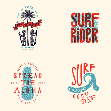 Surfing t-shirt design set. Sun sand surf - girls with surfboards under the palm three. Spread the aloha - pineapple. Surf days, good days - giant wave and a surfer
