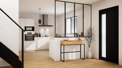 Fototapeta vue 3d cuisine avec verrière  20-06 obraz