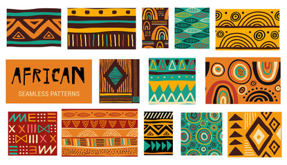 Seamless African modern art patterns. Vector collection
