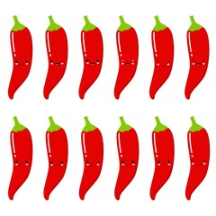 Set of cute smiley red hot peppers. Set of Emoji pepper. Smile fruits.