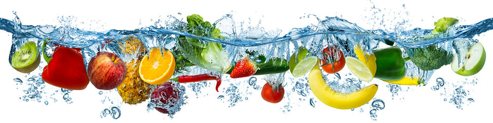 Photo sur Toile Légumes frais fresh multi fruits and vegetables splashing into blue clear water splash healthy food diet freshness concept isolated white background