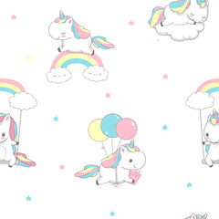 Unicorn Over Rainbow Children Seamless Pattern for Wrap Paper. Happy Little Pony Fly on Balloon. Child Holiday Greeting Magic Element Design on White Background Flat Cartoon Vector Illustration.