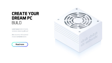 Power supply realistic 3d isometric illustration, personal computer hardware components, custom gaming and workstation accessories, pc store and service