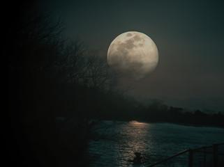 full moon over the sea