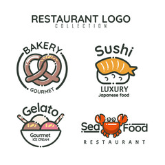 Food logotypes set. Restaurant design elements, logos, badges, labels, icons and objects