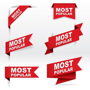 Red Banner Vector, Most Popular, vector concept, illustration, EPS 10