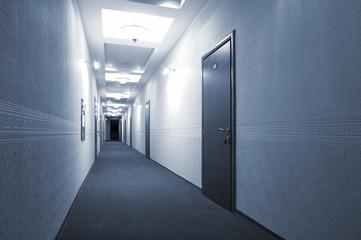 long corridor in modern hotel