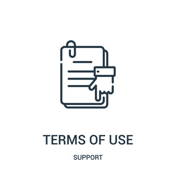 terms of use icon vector from support collection. Thin line terms of use outline icon vector illustration. Linear symbol for use on web and mobile apps, logo, print media.
