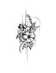 Flower, Tattoo Design, Pen and Ink, Flowers Illustration, Hand Drawn, Ink, Drawing, Hibiscus, Isolated, Nature, Design