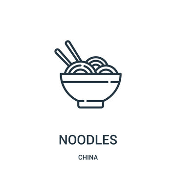 noodles icon vector from china collection. Thin line noodles outline icon vector illustration. Linear symbol for use on web and mobile apps, logo, print media.
