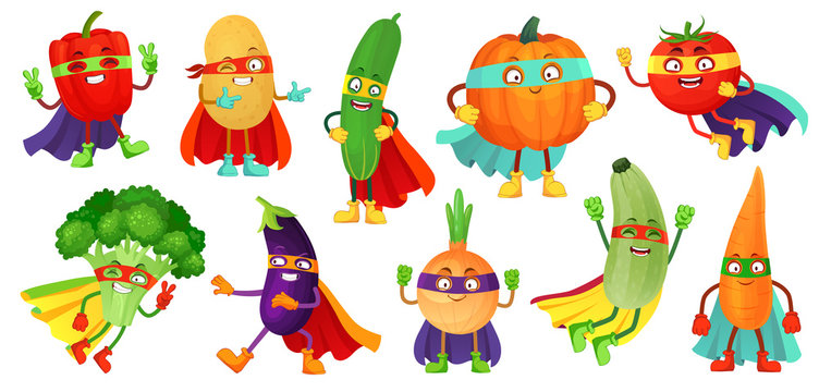 Superhero vegetables. Super cucumber, hero mask on pumpkin and vegetable food with superheroes cloak cartoon vector illustration set