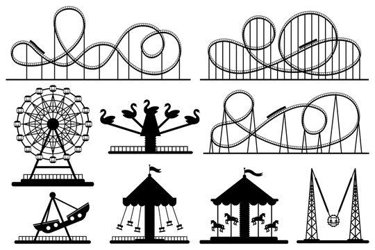 Amusement park silhouette. Roller coaster, festive carnival carousel and ferris wheel vector silhouettes set