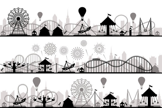 Amusement park landscape. Carnival roller coasters silhouettes, festive carousel and ferris wheel parks vector silhouette illustration