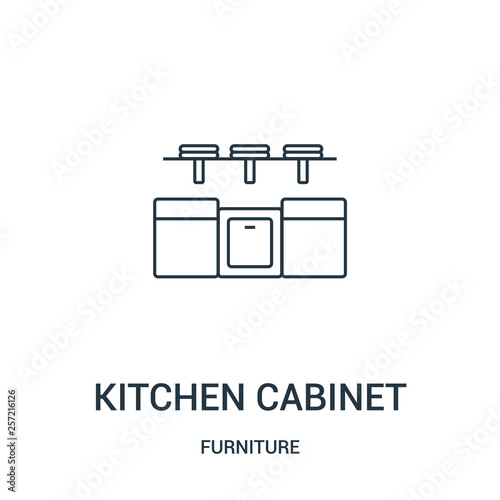 Thin line kitchen cabinet outline icon vector illustration. Linear symbol for use on web and mobile apps, logo, print media.