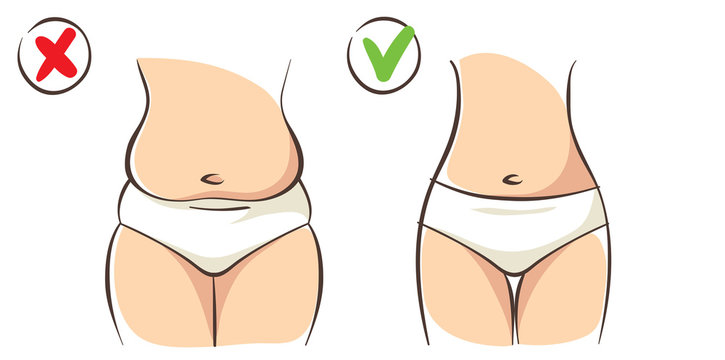 Fat and slim. Female body before and after the diet, vector illustration.