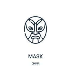 mask icon vector from china collection. Thin line mask outline icon vector illustration. Linear symbol for use on web and mobile apps, logo, print media.