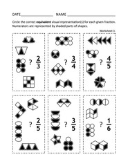 Math worksheet for students of all ages. Learn, practice, reinforce fractions math skills for children. Prevent alzheimer for adults. No-prep printable for teachers.