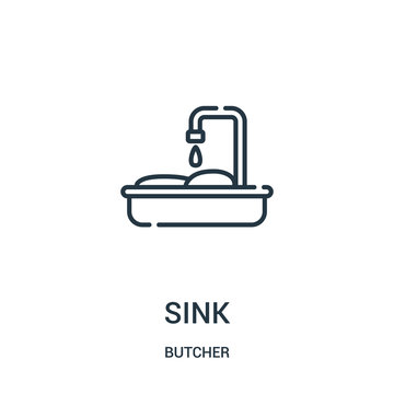 sink icon vector from butcher collection. Thin line sink outline icon vector illustration. Linear symbol for use on web and mobile apps, logo, print media.