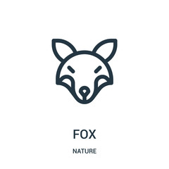 fox icon vector from nature collection. Thin line fox outline icon vector illustration. Linear symbol for use on web and mobile apps, logo, print media.