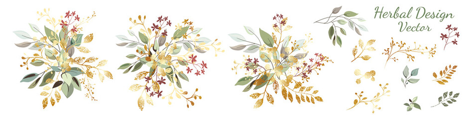 Green leaves with gold. Set: arrangement of leaves and gold elements, branches and ornamental herbs. Vector design.