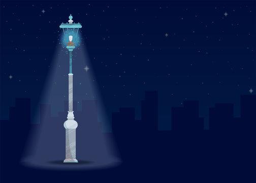 Vector image of a city at night.