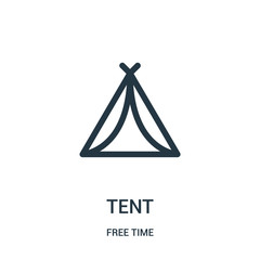 tent icon vector from free time collection. Thin line tent outline icon vector illustration. Linear symbol for use on web and mobile apps, logo, print media.