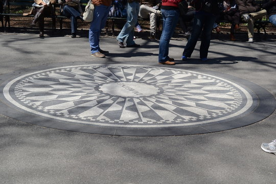 Strawberry Fields is a 2.5 acre area of Central Park that pays tribute to the late Beatle, John Lennon. New York.