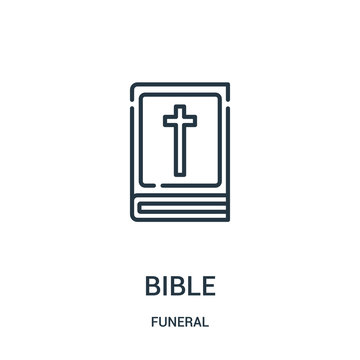 bible icon vector from funeral collection. Thin line bible outline icon vector illustration. Linear symbol for use on web and mobile apps, logo, print media.