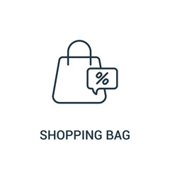 shopping bag icon vector from ads collection. Thin line shopping bag outline icon vector illustration. Linear symbol for use on web and mobile apps, logo, print media.