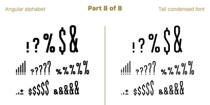 Condensed bold sans serif font, Angular. Vector