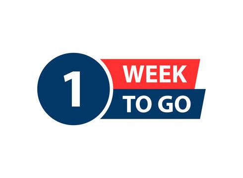 Number 1 of week left to go. Collection badges sale, landing page, banner.Vector illustration.