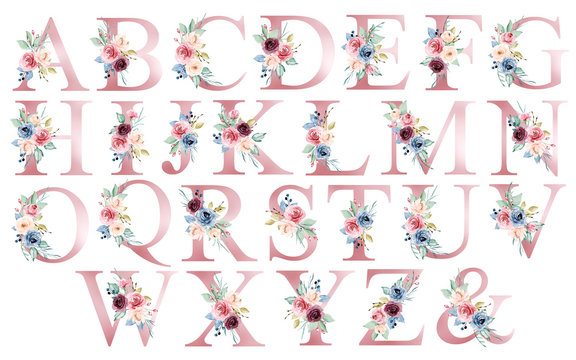 Floral alphabet, letters set with watercolor flowers and leaf. Monogram initials perfectly for wedding invitations, greeting card, logo, poster and other design. Hand painting.