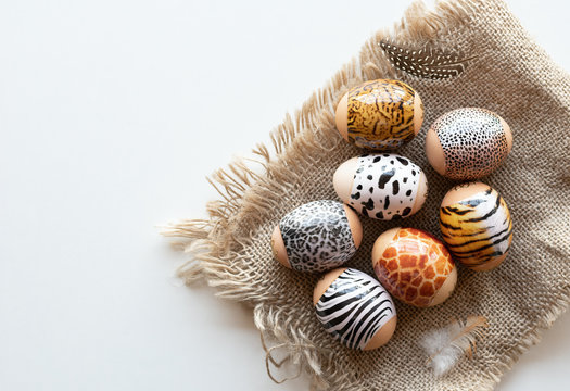 Animal print. Stylish set of Easter eggs on a white background. Easter concept.